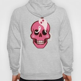 Cute Skull With Spider And Ghosts In Eye Sockets Hoody