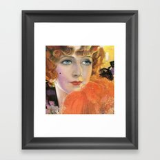 Retro Lady in Orange with a Smile Framed Art Print