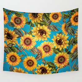 Vintage & Shabby Chic - Sunflowers on Teal Wall Tapestry