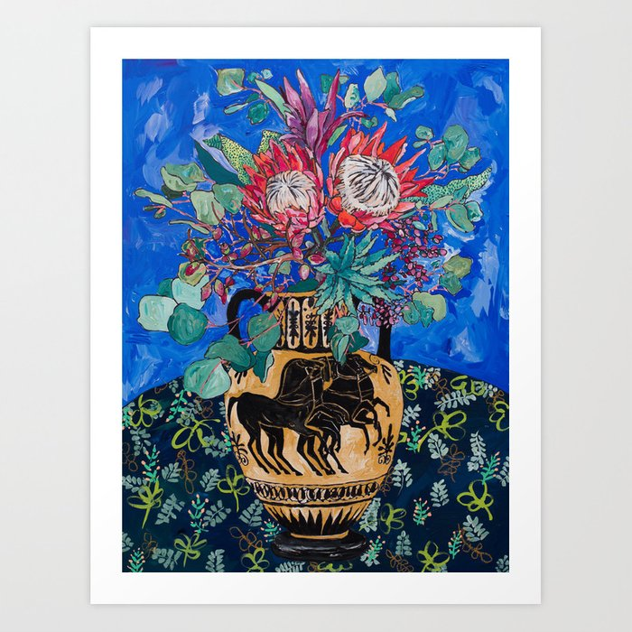 Painterly Bouquet of Proteas in Greek Horse Urn on Blue Art Print
