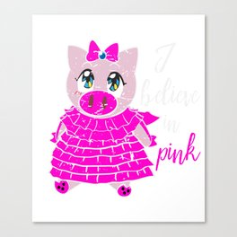 Pink Pig  Shirt Gift Canvas Print
