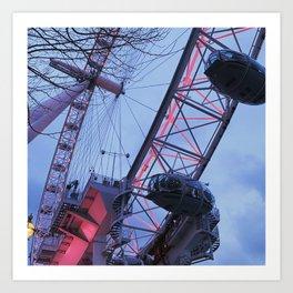 London: Ferris Wheel in Winter Art Print