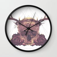 true detective Wall Clocks featuring True Detective Skull by AnnaCheles