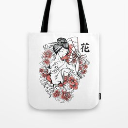 Geisha Flowers and Kanji Tote Bag