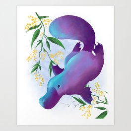 Platypus in shimmering waters Art Print