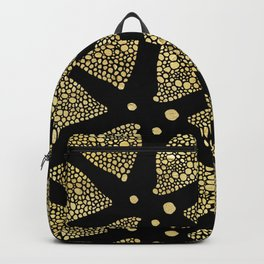 Abstract Triangles Gold Texture & Black Backpack