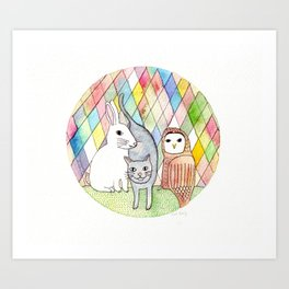 rabbit, cat, owl Art Print