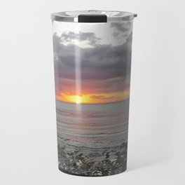 colorful sunset in new zealand on black sand Travel Mug