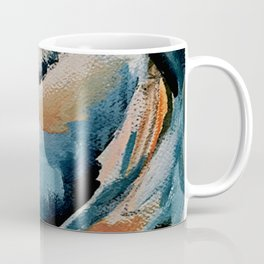 Drift 6: a bold mixed media piece in blues, brown, pink and red Coffee Mug
