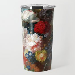 Fruit and Flowers in a Terracotta Vase by Jan van Os Travel Mug