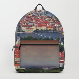 Panorama of Prague with Vltava river Backpack