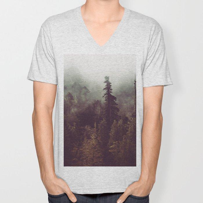 Mountain Morning Mist - Nature Photography Unisex V-Neck