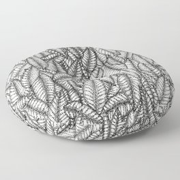 Black and White Botanical Leaf Print with Stick and Poke Style Floor Pillow