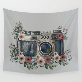 Camera with Summer Flowers Wall Tapestry