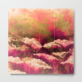IT'S A ROSE COLORED LIFE 2 - Colorful Floral Garden Chic Abstract Pink White Olive Green Painting Metal Print