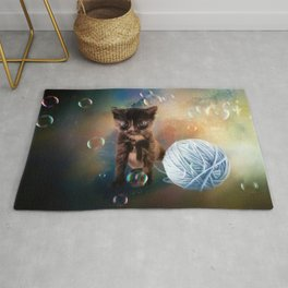 Playful cute black kitten Rug