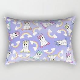 Cute Girly Unicorns and Colorful Rainbows Pattern Rectangular Pillow