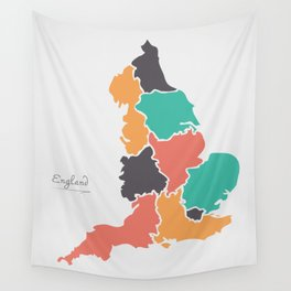 England Map with modern round shapes Wall Tapestry