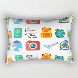 Travel Icons Rectangular Pillow