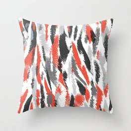 Chaotic Black Red Smears Throw Pillow