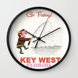 Key West Floria Fishing Wall Clock