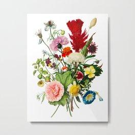 Ultimate Nineteen Heirloom Antique Flowers Bouquet, Original Aquatint Watercolor PNG 10  Metal Print