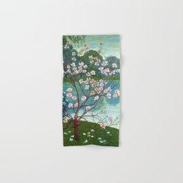Springtime Pink Magnolias by the Kettle Pond landscape by Wilhelm List Hand & Bath Towel