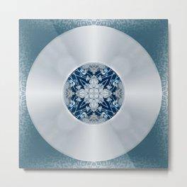 Vinyl Record Illusion in Blue Metal Print