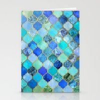 bedding Stationery Cards featuring Cobalt Blue, Aqua & Gold Decorative Moroccan Tile Pattern by micklyn