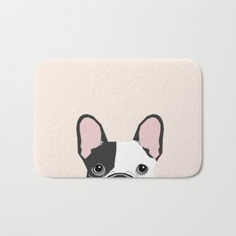 French Bulldog peeking cute black and white frenchie must have dog mom pet lover gifts Bath Mat