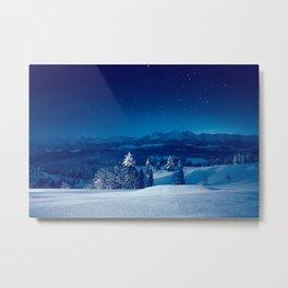Snowy silent christmas night Metal Print
