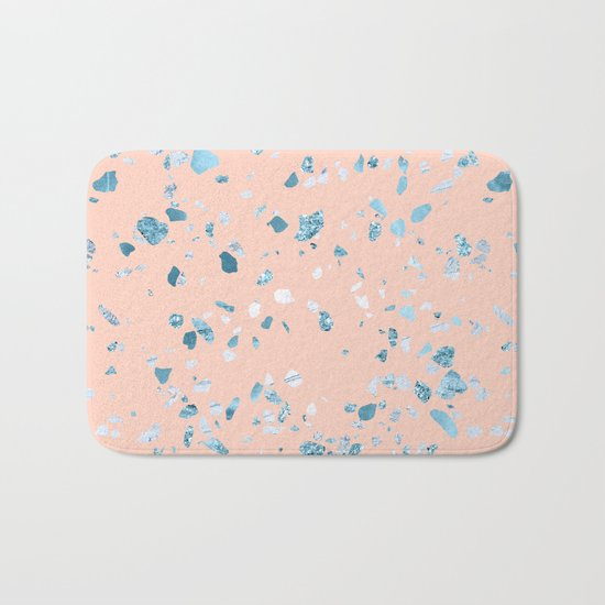 Turquoise Shimmery Terrazzo on Pink Bath Mat