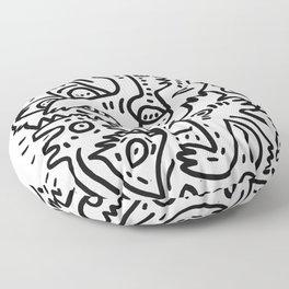 Summer Monsters Street Art Black and White Graffiti Floor Pillow