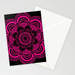Mandala Flower Pink & Black Stationery Cards