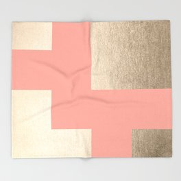 Simply Geometric White Gold Sands on Salmon Pink Throw Blanket