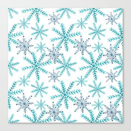 Blue Snowflakes Canvas Print