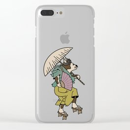 Cat With Ōgi Clear iPhone Case
