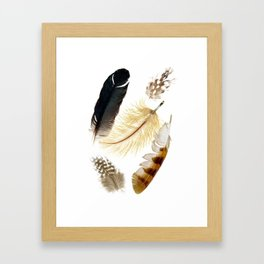 Brown feathers art, Five Feathers design, Tribal Boho style Framed Art Print