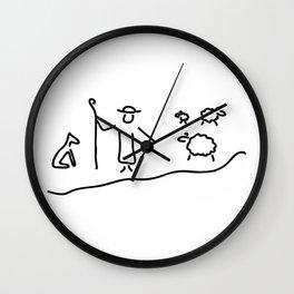 shepherd with herd sheep and dog shepherd Wall Clock