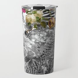 Flowers with Black and White Travel Mug