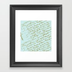 French Script on Paris Blue Framed Art Print