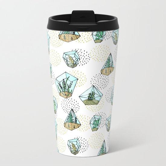 Succulents in the glass vase Metal Travel Mug
