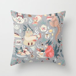 Tea Spirit pattern Throw Pillow