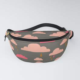 peachy pinky clouds on sage Fanny Pack