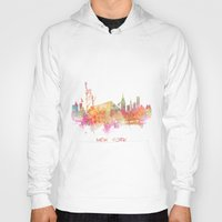 new york skyline Hoodies featuring New York skyline by jbjart