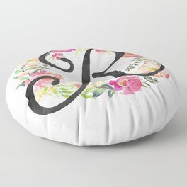 Floral R Monogram Floor Pillow
