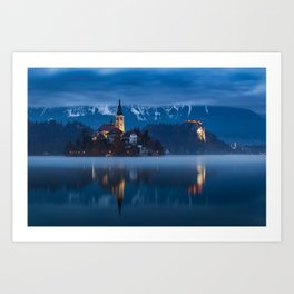 Bled lake at blue hour Art Print