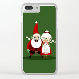 Père & Mère Noël  (vert sapin) Clear iPhone Case