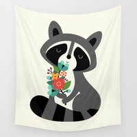 racoon Wall Tapestries featuring Beautiful Day by Andy Westface