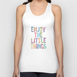 Enjoy the Little Things Watercolor Rainbow Design Inspirational Quote bedroom Wall Art Home Decor Unisex Tank Top